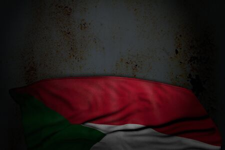 beautiful dark picture of Sudan flag with big folds on rusty metal with free place for text - any occasion flag 3d illustration Banco de Imagens - 131945039