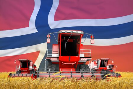 4 bright red combine harvesters on wheat field with flag background, Norway agriculture concept - industrial 3D illustration