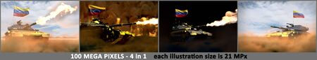 Venezuela army concept - 4 high detail illustrations of heavy tank with fictional design with Venezuela flag, military 3D Illustration