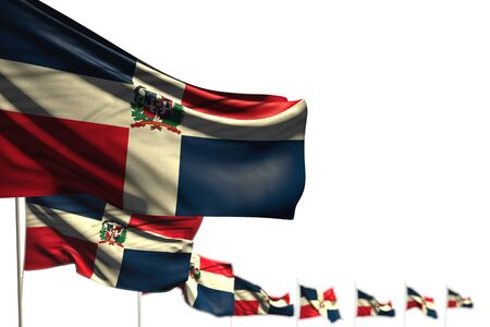 beautiful Dominican Republic isolated flags placed diagonal, photo with selective focus and space for text - any celebration flag 3d illustration