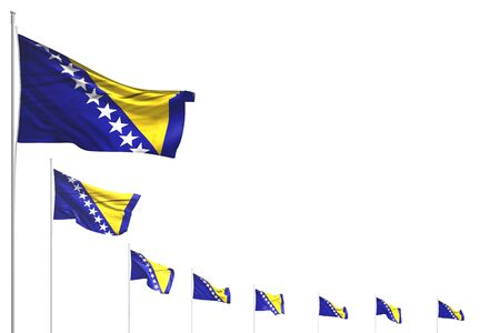 wonderful many Bosnia and Herzegovina flags placed diagonal isolated on white with place for text - any occasion flag 3d illustration