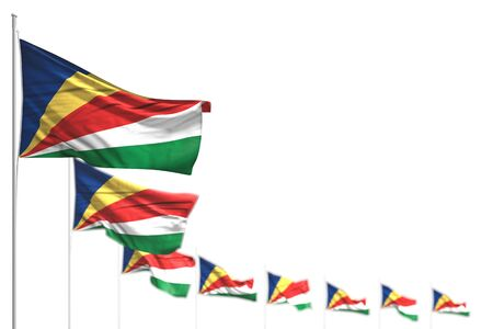 nice Seychelles isolated flags placed diagonal, illustration with selective focus and place for text - any occasion flag 3d illustration