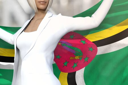 pretty business lady is holding Dominica flag in her hands behind her on the office building background - flag concept 3d illustration 版權商用圖片