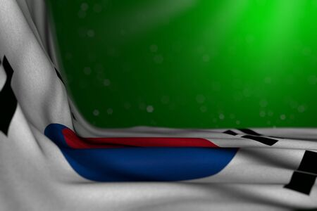 wonderful feast flag 3d illustration  - dark illustration of Republic of Korea (South Korea) flag lying flat in corner on green background with soft focus and free place for your text