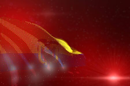 cute colorful photo of Ecuador flag of dots waving on red - soft focus and space for your content - any holiday flag 3d illustration