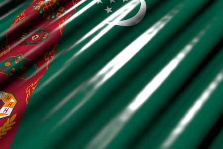 pretty any feast flag 3d illustration  - glossy - looking like plastic flag of Turkmenistan with large folds lie diagonal