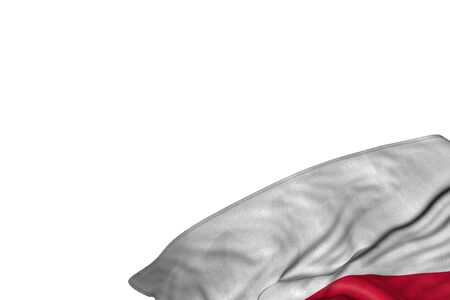 beautiful Poland flag with large folds lying flat in bottom right corner isolated on white - any occasion flag 3d illustration