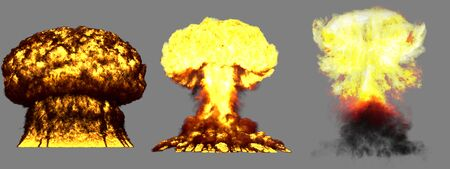 3 big very highly detailed different phases mushroom cloud explosion of thermonuclear bomb with smoke and fire isolated on grey - 3D illustration of explosion