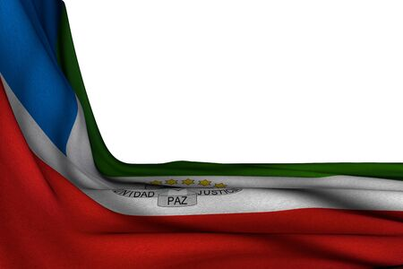 beautiful isolated mockup of Equatorial Guinea flag hangs in corner on white with free space for content - any occasion flag 3d illustration Banco de Imagens - 131945679