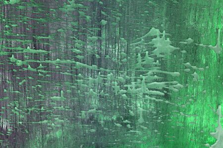 nice green old plate with paint drips texture - abstract photo background Banco de Imagens