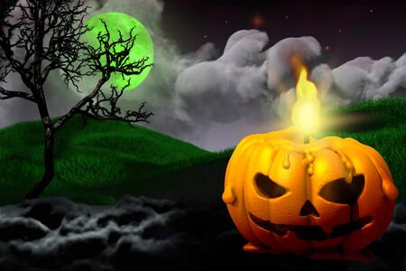 Halloween multi colored creepy dark night backdrop - free space on left and candle in pumpkin style on right, trick or treat concept - background design template 3D illustration Banco de Imagens