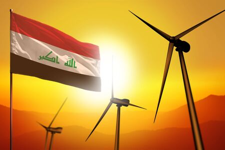 Iraq wind energy, alternative energy environment concept with turbines and flag on sunset - alternative renewable energy - industrial illustration, 3D illustration