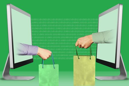 digital concept, hands from laptops. hand with shopping bag and hand with shopping bag . 3d illustration