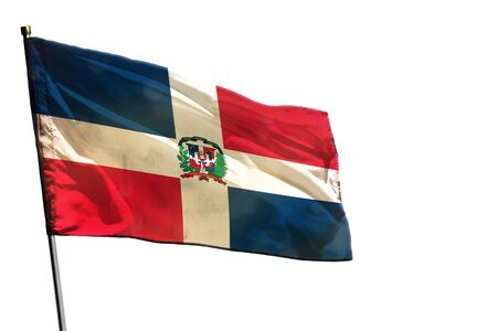 Fluttering Dominican Republic flag isolated on white background.