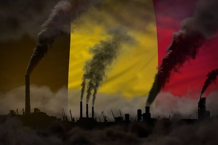 Dark pollution, fight against climate change concept - industrial 3D illustration of industrial pipes dense smoke on Belgium flag background Stock Photo