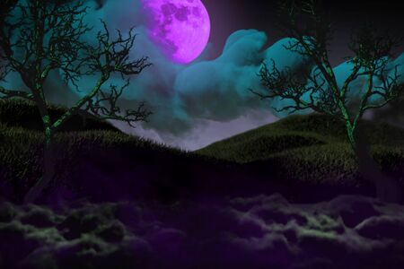 Halloween colorful haunting dark night texture - free space on left side and free space on the right, trick or treat concept - background design template 3D illustration