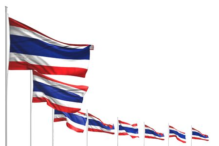 nice labor day flag 3d illustration  - many Thailand flags placed diagonal isolated on white with place for content