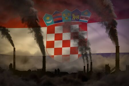 Dark pollution, fight against climate change concept - plant chimneys dense smoke on Croatia flag background - industrial 3D illustration