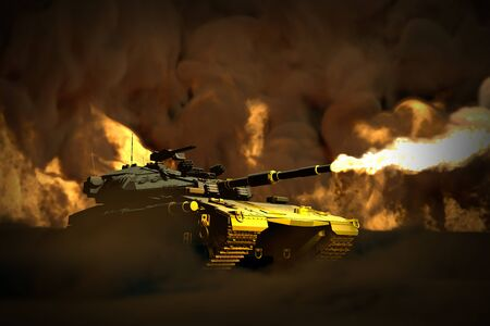 Military 3D Illustration of forest camo heavy tank with fictional design in combat with fire around shooting, heroism concept Stok Fotoğraf
