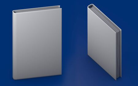 object 3d illustration - very high resolution grey book that is closed, symbol of the day of knowledge with parallel view isolated on blue background