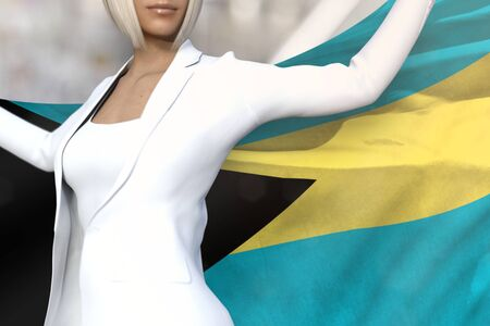 beautiful business woman is holding Bahamas flag in her hands behind her on the office building background - flag concept 3d illustration