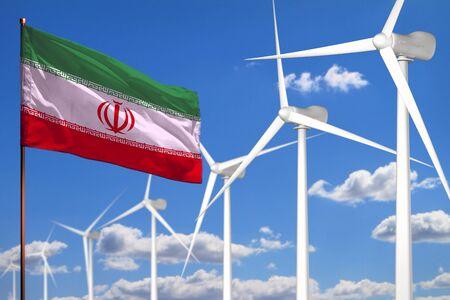 Iran alternative energy, wind energy industrial concept with windmills and flag - alternative renewable energy industrial illustration, 3D illustration Reklamní fotografie