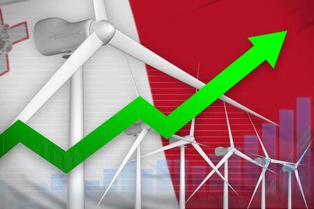 Malta wind energy power rising chart, arrow up  - green energy industrial illustration. 3D Illustration Reklamní fotografie