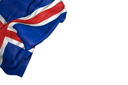 nice Iceland flag with big folds lay in top left corner isolated on white - any celebration flag 3d illustration