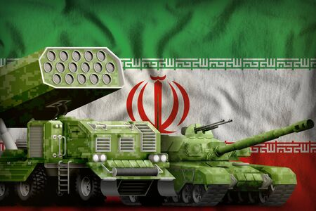 tank and rocket launcher with summer pixel camouflage on the Iran flag background. Iran heavy military armored vehicles concept. 3d Illustration