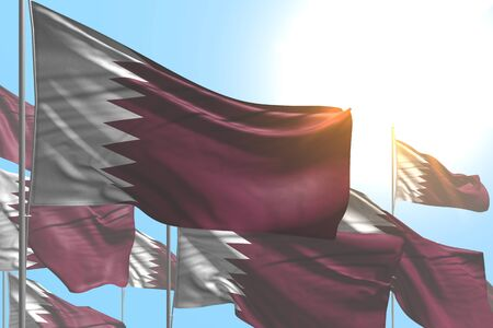 nice many Qatar flags are wave on blue sky background - any holiday flag 3d illustration