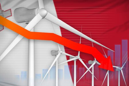Malta wind energy power lowering chart, arrow down  - modern energy industrial illustration. 3D Illustration