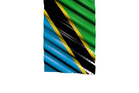 cute shiny flag of Tanzania with big folds hanging from top isolated on white - any occasion flag 3d illustration