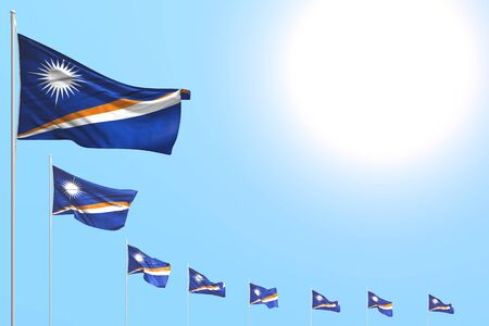 nice any holiday flag 3d illustration  - many Marshall Islands flags placed diagonal on blue sky with place for text