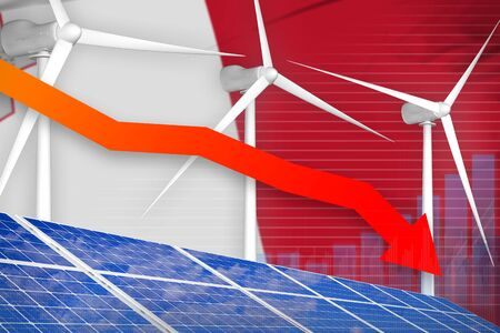 Malta solar and wind energy lowering chart, arrow down  - alternative energy industrial illustration. 3D Illustration