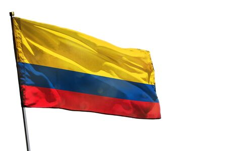 Fluttering Colombia flag isolated on white background. Stock fotó
