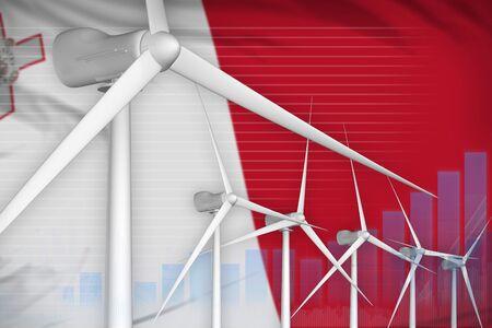 Malta wind energy power digital graph concept  - alternative energy industrial illustration. 3D Illustration Reklamní fotografie