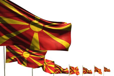 wonderful celebration flag 3d illustration  - many Macedonia flags placed diagonal isolated on white with place for your text Stockfoto