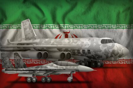 air forces with grey camouflage on the Iran flag background. Iran air forces concept. 3d Illustration