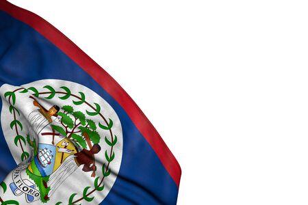 beautiful Belize flag with large folds lying flat in bottom left corner isolated on white - any celebration flag 3d illustration