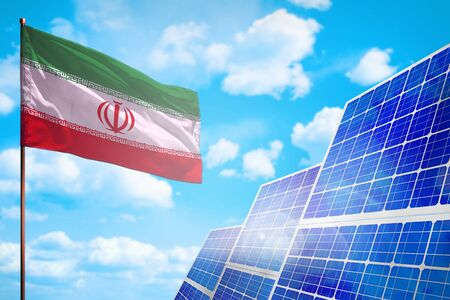 Iran alternative energy, solar energy concept with flag - symbol of fight with global warming - industrial illustration, 3D illustration