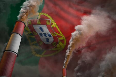 Portugal pollution fight concept - two large industrial chimneys with dense smoke on flag background, industrial 3D illustration