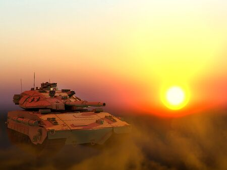 Military 3D Illustration of desert color miltary tank with not existing design on sunset in desert, very high resolution heavy armor concept