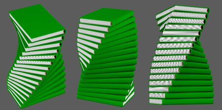 beautiful very detailed spiral pile of many green closed books, knowledge day concept isolated on grey background - object 3d illustration