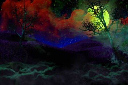 colorful scary night backdrop - bokeh background design template 3D illustration soft focus lanterns in the dark concept