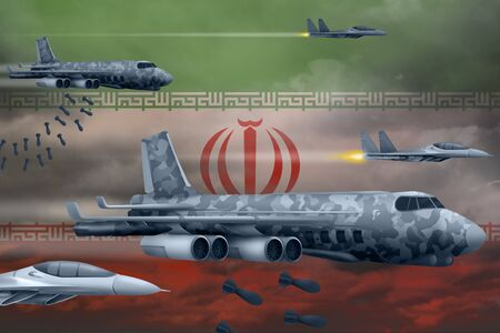 Iran bomb air strike concept. Modern Iran war airplanes bombing on flag background. 3d Illustration