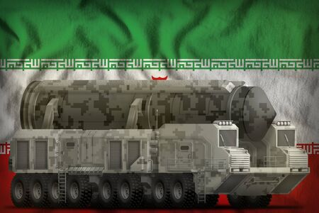 intercontinental ballistic missile with city camouflage on the Iran flag background. 3d Illustration