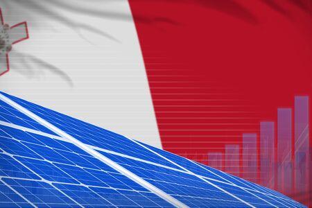 Malta solar energy power digital graph concept  - modern energy industrial illustration. 3D Illustration