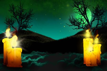 Halloween multi colored scary night mockup - background design template 3D illustration with set of candles on left and many candles on right side, trick or treat concept Stok Fotoğraf