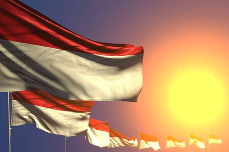cute independence day flag 3d illustration  - many Indonesia flags on sunset placed diagonal with selective focus and space for your text