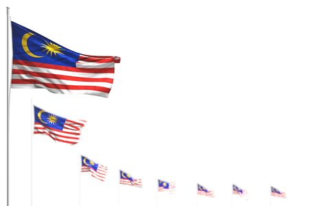 pretty holiday flag 3d illustration  - Malaysia isolated flags placed diagonal, photo with soft focus and space for your content